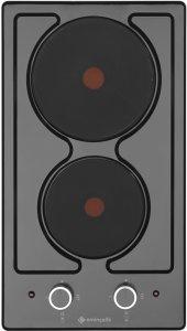 Eminçelik 41242 Ankastre İki Gözlü Elektrikli Siyah Domino Ocak