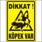 Dikkat Köpek Var Uyarı Levhası (Alman Kurdu) 35x50 Cm Galvaniz