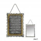 Kakmalı Ayet El Kürsi Yazılı Gümüş Ayna