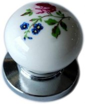 Düğme Porselen Tek Vida Krom Renk Çekmece Dolap Mobilya Kulpu 374