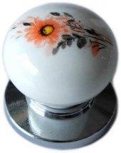 Gerçek Porselen Kulp Parlak Krom Düğme Dolap Mobilya Kulpu Tekli