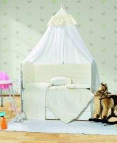 Beyaz Beşik Örtüsü Bebek Uyku Seti Ebrar