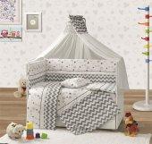 Yıldızlı Gri Beşik Örtüsü Bebek Uyku Seti