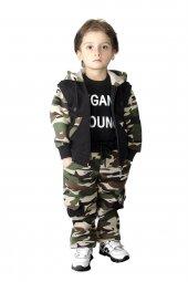 Kamuflaj Baskılı Çocuk Takımı Kapüşonlu Erkek Çocuk Kıyafeti