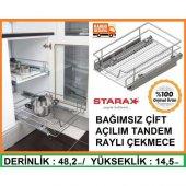 Starax Bağımsız Çift Açılım Raylı Çekmece Mutfak Dolapiçi 36 38cm