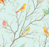 Floral Collection 5020 Renkli Kuş Desenli Duvar Kağıdı