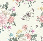 Floral Collection 5026 Kelebek Görünümlü Duvar Kağıdı
