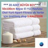 20 Adet Otel Havlusu 50x100cm 100 Pamuklu Beyaz El Havlusu