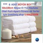 6 Adet Otel Havlusu 50x100cm 100 Pamuklu Beyaz El Havlusu