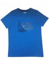 Mel Bee Baskılı Erkek T Shirt Mavi D 7