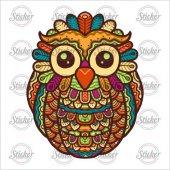 Renkli Baykuş Sticker 20088