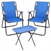 Romee Ahşap Kollu Katlanır Bahçe Kamp Sandalyesi +sehpa Mavi Set