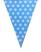 Doğum Günü Mavi Puantiyeli Flama Mavi Beyaz Puantiyeli