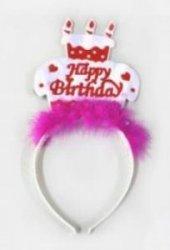 Happy Birthday Pastalı Pembe Tüylü Tac Doğum Günü Tacı Kız Çocuk