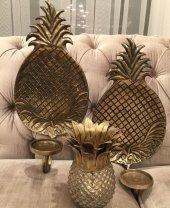 Sadehomedecor Lucky Art Bronz Ananaslı Duvar Mumluk 49 Cm (1 Adet)