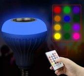 Bluetooth Hoparlör Ve Led Lamba Uzaktan Kumandalı Ampül Gece Lambalı