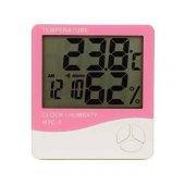 Htc 1 Dijital Termometre Sıcaklık Ve Nem Ölçer Masa Saati Isı Alarmı Pembe