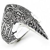 Kayı Boyu Kartallı Sivri Zihgir Gümüş Erkek Yüzük Msr388