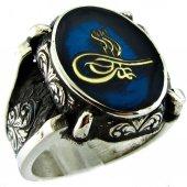 Mavi Mineli Osmanlı Tuğrası Motifli Gümüş Erkek Yüzük Msr209