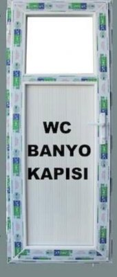 90x180 Pvc Wc Banyo Kapısı Camlı