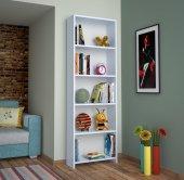 Alkur Home Line Kitaplık Kütüphane 5 Raflı Beyaz S...
