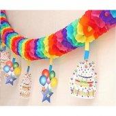 Renkli Doğum Günü Kağıt Garland Süsleme Malzemesi Asmalı Tepe Süs