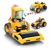 Inşaat Araçları Lego 3 İn 1 İnşaat Makinaları 191 Parça Oyuncak Lego Asfalt Aracı Şantiye Lego Seti