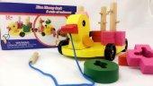 Eğitici Ahşap Oyuncakları Bultak Oyuncak Ördek Arabası Çek Çek Arabalı Bultak Oyunu Algı Zeka Oyunu
