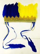 Renkli Kızılderili Başlığı Tüylü Sarı Mavi