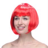 Kırmızı Renk Peruk Küt Saç