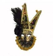 Tüylü Dekoratif Seramaik Maske Siyah Renk