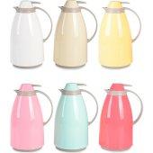 1 Litre İçi Cam Renkli Çay Termos