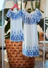 Penye Mood 8545 Kız Çocuk Elbise Beyaz 3 12 Yaş