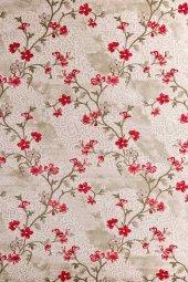 Kırmızı Çiçek Desenli Vizon Zemin Yatak Odası Halısı Hs96010e