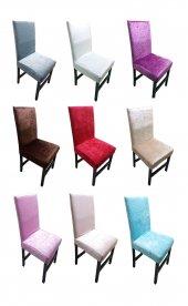 Kadife Sandalye Kılıfı 6'lı Takım 10 Renk Seçeneği...