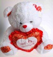 Sevgililer Gününe Özel Kalpli Pelus Ayi 50 Cm
