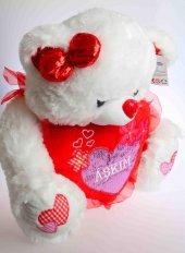 Sevgililer Gününe Özel Kalpli Kurdelalı Peluş Ayı 50 Cm