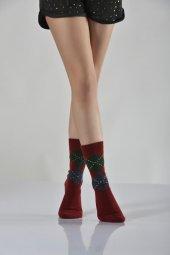 Ekoseli Termal Bayan Soket Çorabı Bordo B Art107