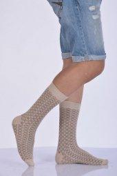 Desenli Bambu Erkek Soket Çorabı Bej E Art217