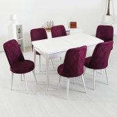 Evform Milla 6 Sandalyeli Beyaz Açılır Yemek Mutfak Masa Takımı