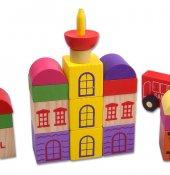 Eğitici Oyuncak Bloklar 30 Parça Ahşap Havalimanı Renkli Oyuncak Bloklar Zeka Ve Algı Oyunları Blok