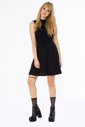 Real Önü Nervür Detaylı Koyu Mor Elbise 160098 1