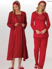 Mecit 5 Li Lohusa Hamile Simli Triko Kırmızı Gecelik Pijama Sabahlık Set 6011