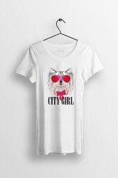 City Girl Baskılı Yırtmaçlı Oversize Kadın Tshirt