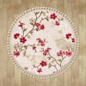 Kırmızı Çiçek Desenli Vizon Zemin Yuvarlak Halı Hs96010ye