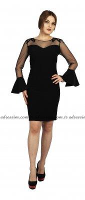 Kollar Ve Omuz Tül Ve Boncuklu İspanyol Kısa Abiye Elbise