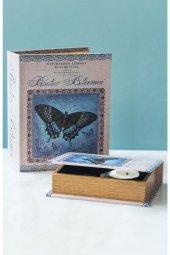 Mavi Kelebekli Kitap Şeklinde 2li Kutu
