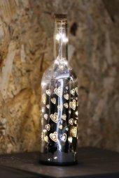 Dekoratif Gümüş Renkli Kalpli Led Lamba