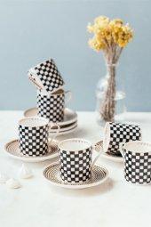 Porselen Siyah Beyaz Lux 6lı Fincan Takımı
