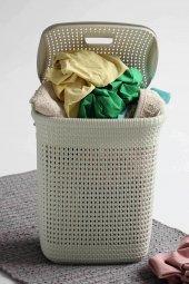örgü Desenli Fil Dişi Rengi Plastik Kirli Çamaşır ...